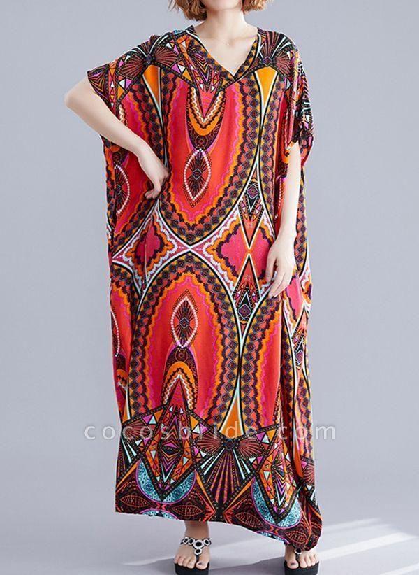 Red Plus Size Tunic Color Block V-Neckline Casual Maxi Plus Dress