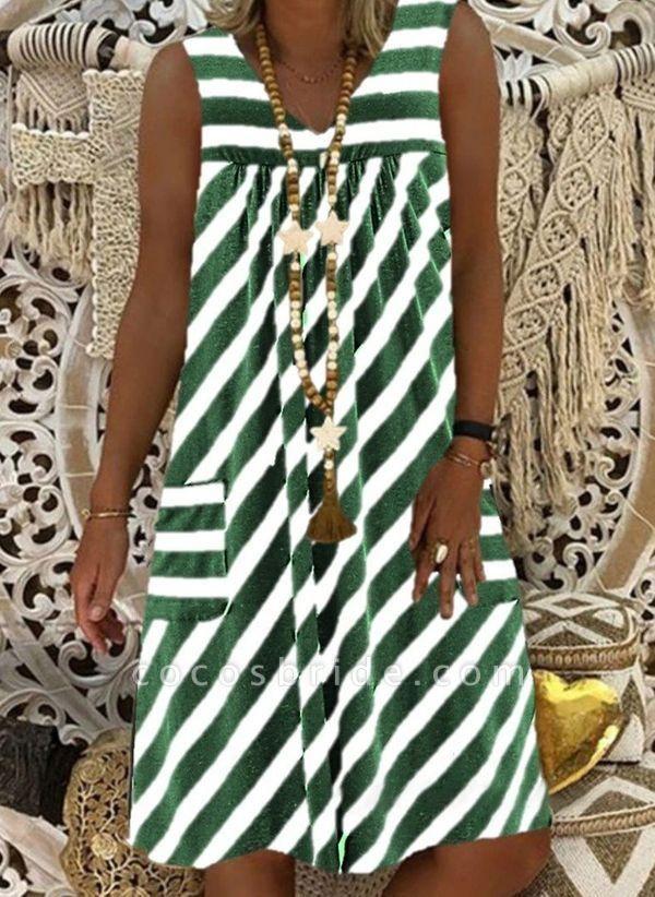 Brown Plus Size Tunic Stripe V-Neckline Casual Pockets Plus Dress
