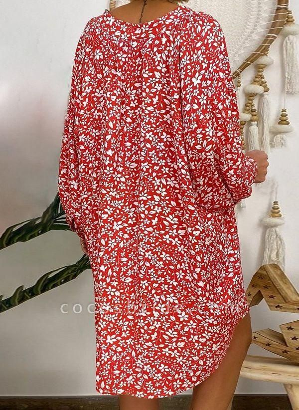 Red Plus Size Tunic Floral V-Neckline Casual Above Knee Plus Dress