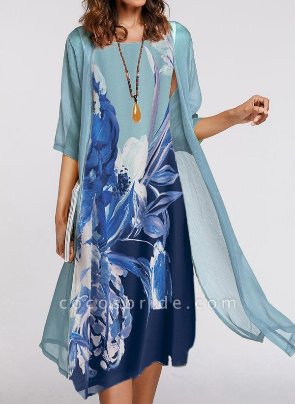 Casual Floral Wrap Tunic A-line Dress