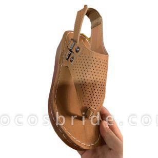 Women's Buckle Flip-Flops Wedge Heel Sandals