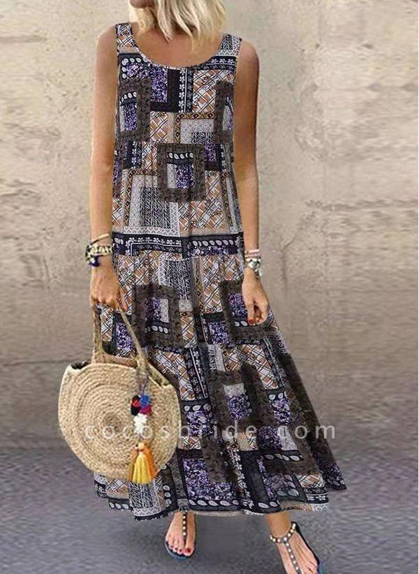 Khaki Plus Size Tunic Color Block Round Neckline Casual Maxi Plus Dress