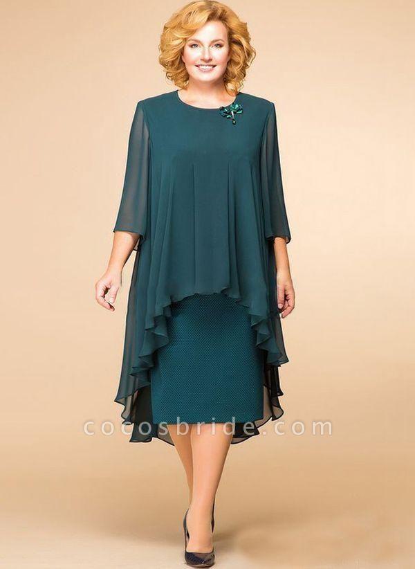 Dark Green Plus Size Floral Round Neckline Elegant Midi Shift Dress Plus Dress