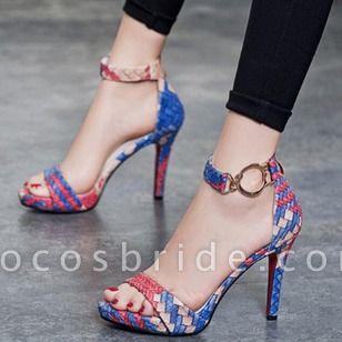 Women's Knit Leatherette Stiletto Heel Sandals