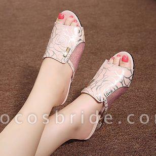 Women's Flower Peep Toe Fabric Chunky Heel Sandals