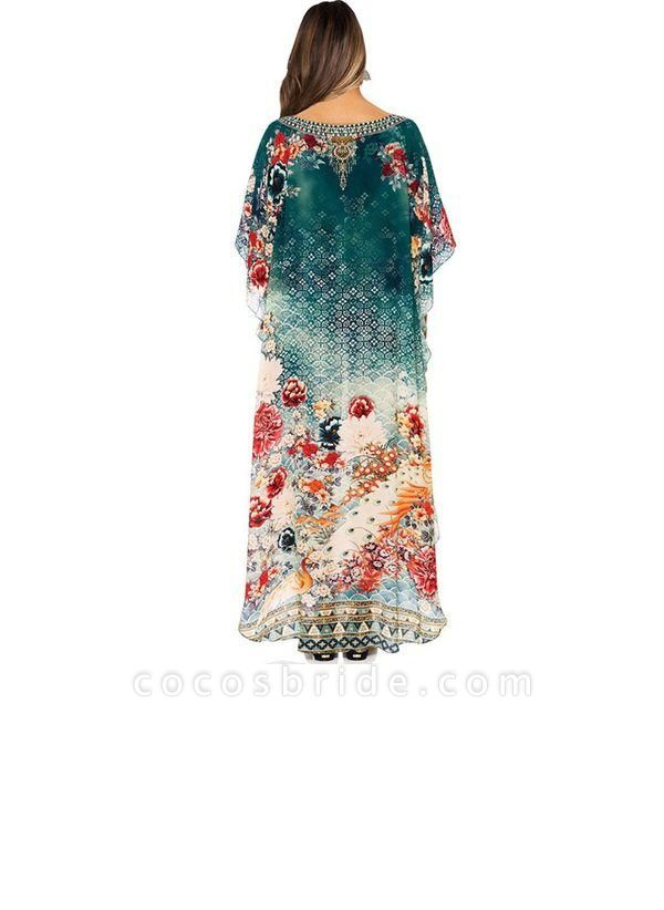 Green Plus Size Tunic Floral V-Neckline Casual Maxi Plus Dress