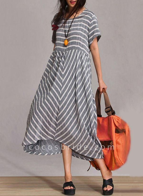 Gray Arabian Stripe Round Neckline Maxi A-line Dress