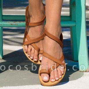 Women's Toe Ring Leatherette Flat Heel Sandals