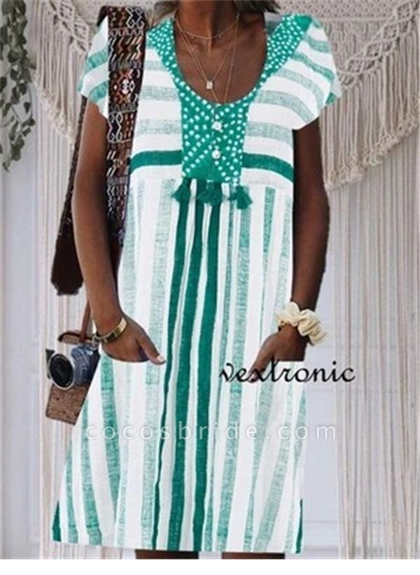 Green Plus Size Tunic Stripe V-Neckline Casual Pockets Plus Dress