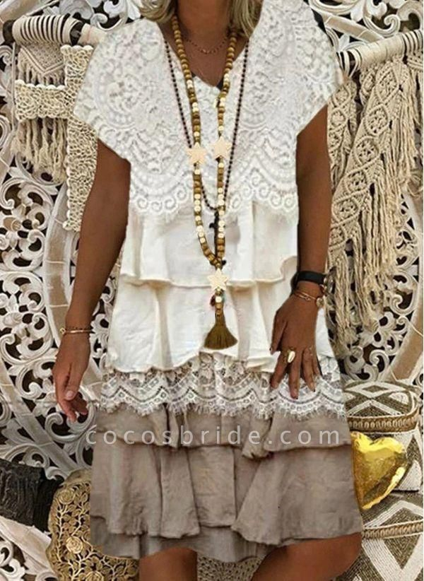 Coffee Plus Size Tunic Color Block V-Neckline Casual Appliques Ruffles Plus Dress