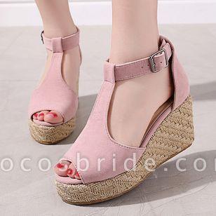 Women's Buckle Ankle Strap Peep Toe Nubuck Wedge Heel Sandals