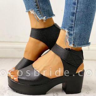 Women's Velcro Ankle Strap Slingbacks Chunky Heel Sandals