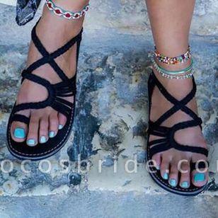 Women's Braided Strap Toe Ring Flat Heel Sandals