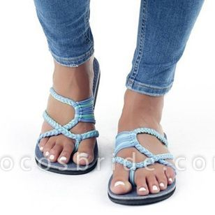 Women's Braided Strap Flip-Flops Flat Heel Sandals