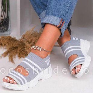 Women's Knit Flats Flat Heel Sandals