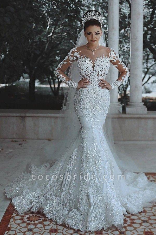 SDBA9863 White Lace Mermaid Long Sleeve Wedding Dresses
