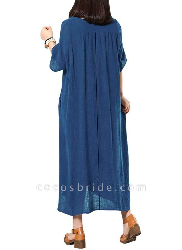 Dark Blue Plus Size Solid Casual Pockets Maxi Shift Dress Plus Dress