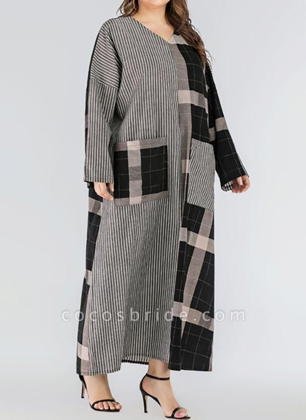 Black Plus Size Plaid V-Neckline Casual Pockets Maxi Plus Dress