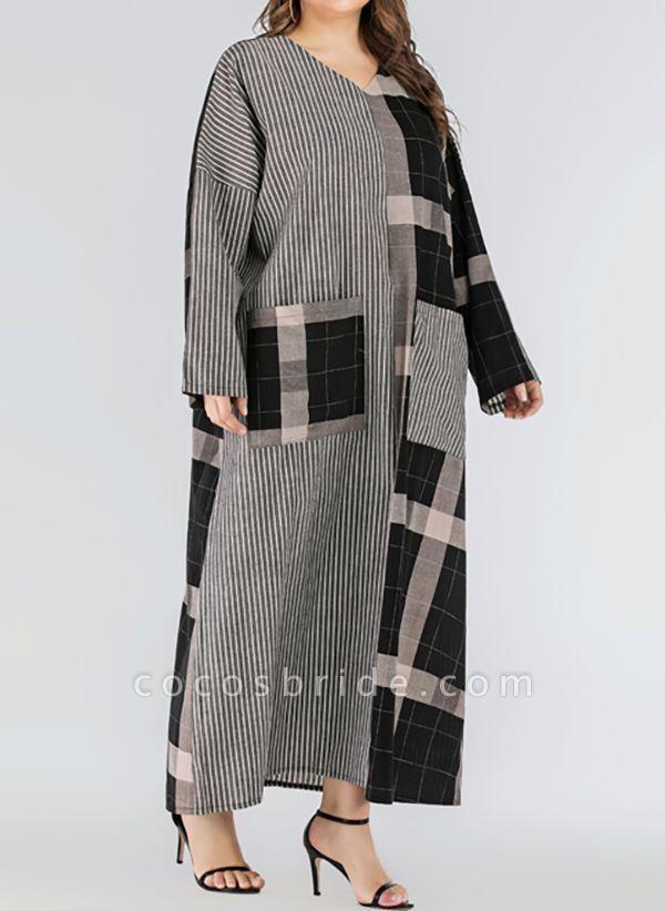 Black Plus Size Plaid V-Neckline Casual Pockets Maxi Plus Dress