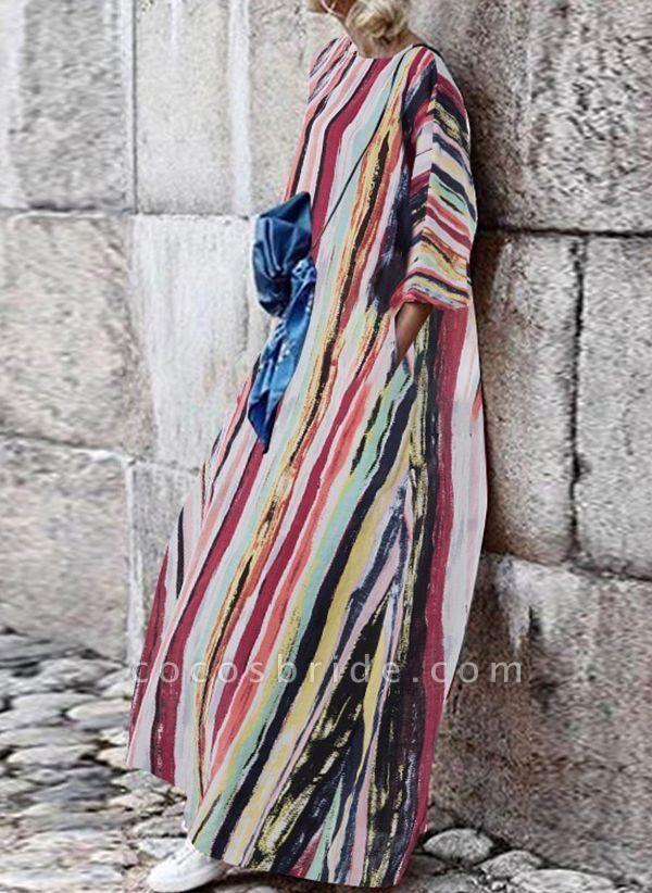 Multicolor Plus Size Tunic Color Block Round Neckline Casual Pockets Plus Dress