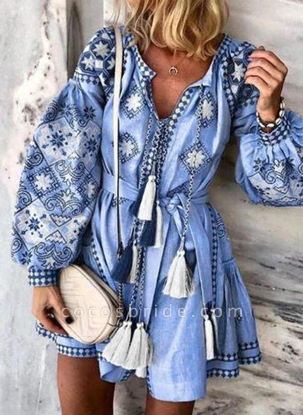 Blue Plus Size Skater Floral V-Neckline Casual Tassel Plus Dress