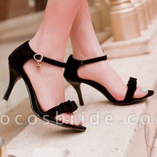 Women's Buckle Heels Nubuck Spool Heel Sandals