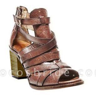 Women's Buckle Zipper Heels Chunky Heel Sandals