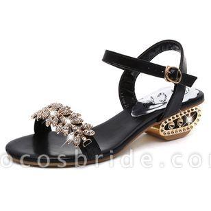 Women's Rhinestone Buckle Heels Low Heel Sandals