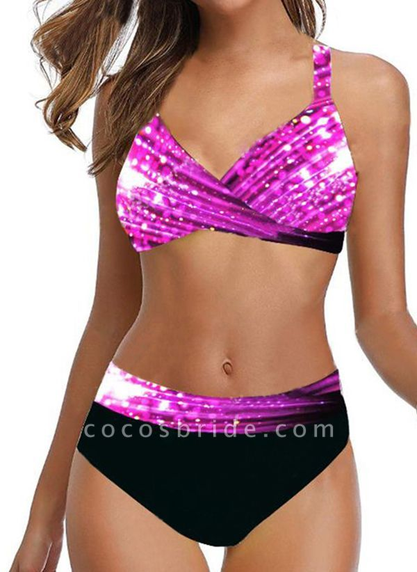 Polyester Color Block Bikinis Swimwear