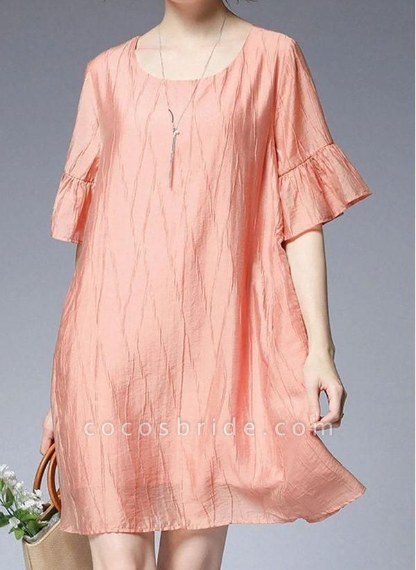 Pink Plus Size Tunic Solid Round Neckline Casual Ruffles Plus Dress