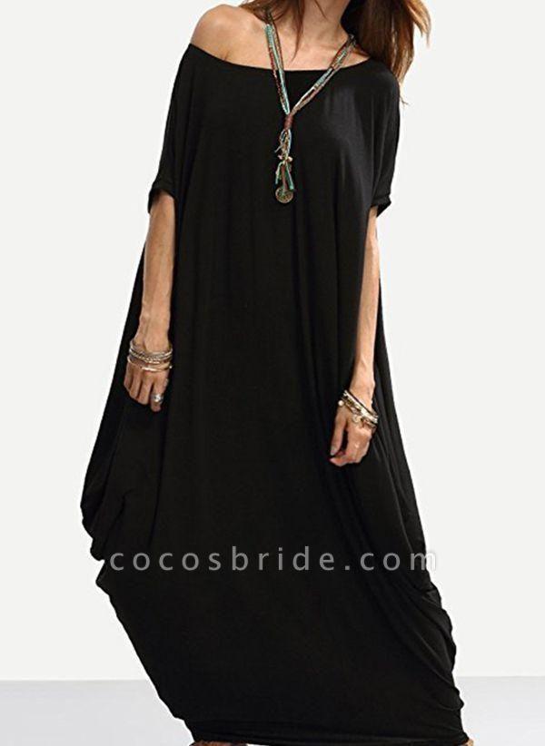 Black Plus Size Tunic Solid Round Neckline Casual Maxi Plus Dress