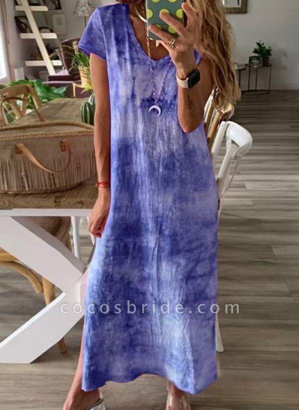 Blue Casual Color Block Tshirt V-Neckline Shift Dress