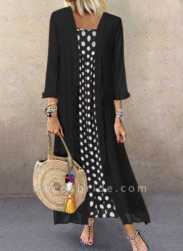 Black Plus Size Polka Dot Round Neckline Casual Buttons Maxi Plus Dress
