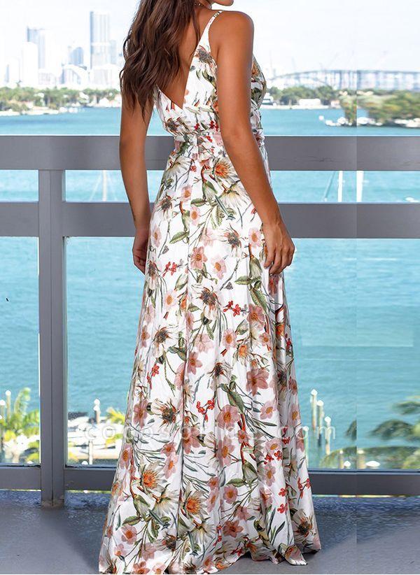 Elegant Floral Wrap Slip X-line Dress