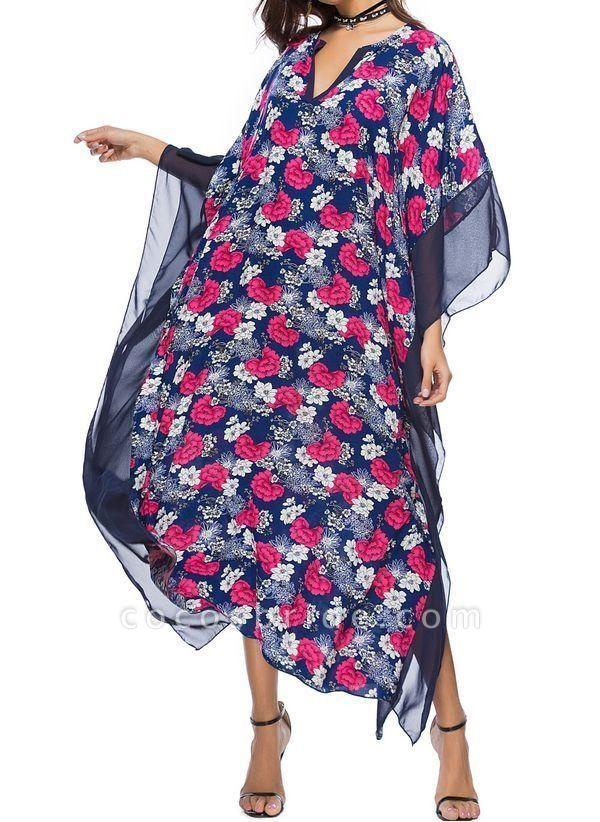 Blue Plus Size Tunic Floral V-Neckline Casual Maxi Plus Dress