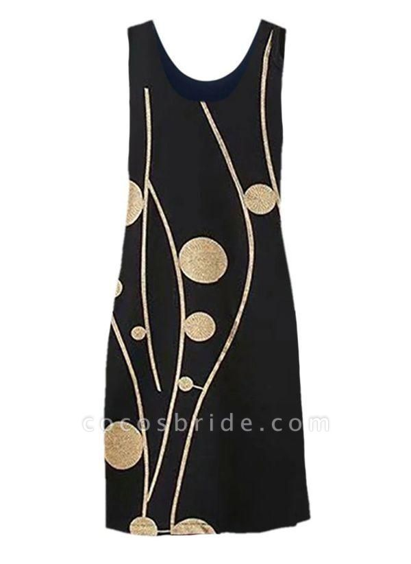 Black Plus Size Tunic Color Block Round Neckline Casual Knee-Length Plus Dress