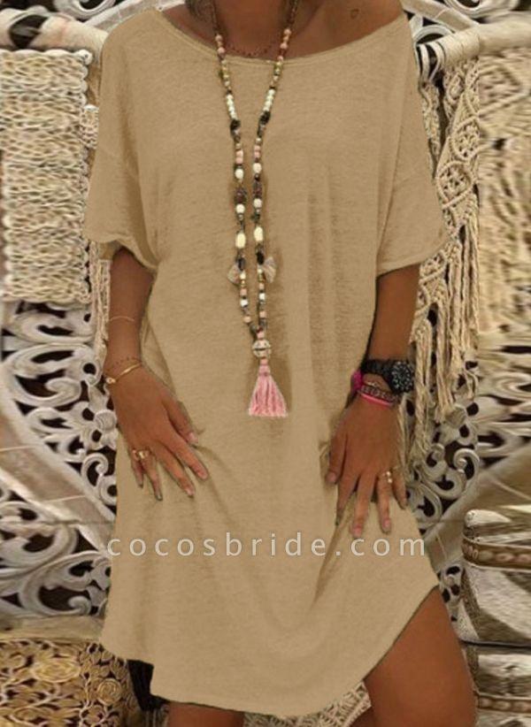 Khaki Plus Size Tunic Solid Round Neckline Casual Knee-Length Plus Dress