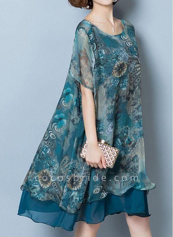 Dark Blue Plus Size Floral Round Neckline Casual Knee-Length Shift Dress Plus Dress