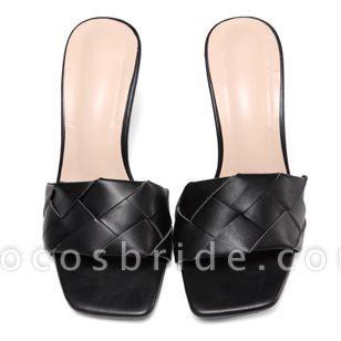 Women's Braided Strap Square Toe Slingbacks Flat Heel Sandals