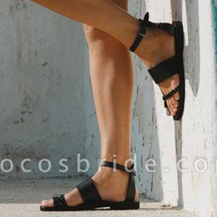 Women's Buckle Toe Ring Flat Heel Sandals