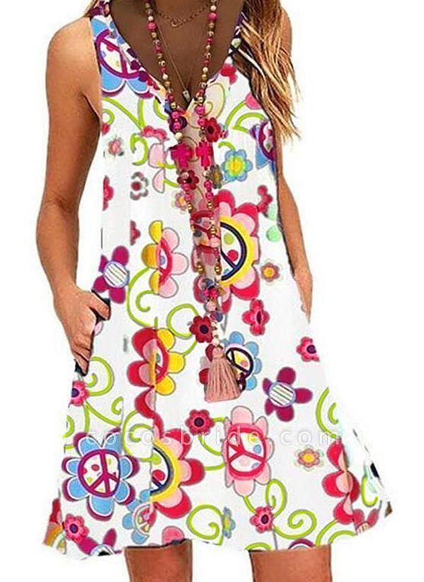 White Plus Size Tunic Floral V-Neckline Casual Pockets Plus Dress