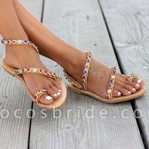 Women's Crystal Slingbacks Flat Heel Sandals