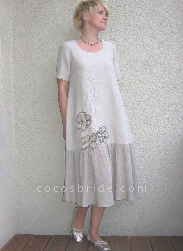 White Plus Size Color Block Round Neckline Elegant Maxi Midi Shift Dress Plus Dress