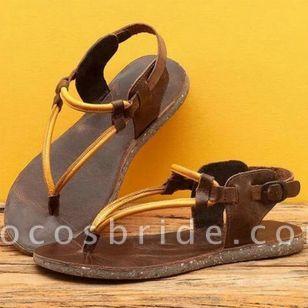 Women's Buckle Flip-Flops Flat Heel Sandals