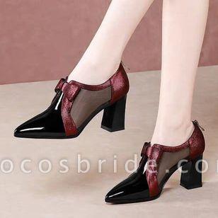 Women's Zipper Pointed Toe Heels Chunky Heel Sandals