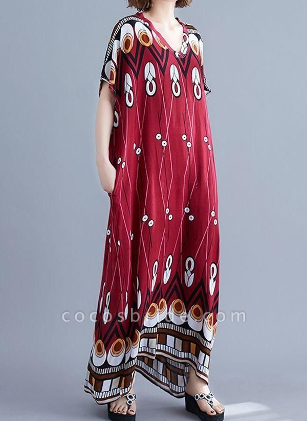 Burgundy Plus Size Tunic Geometric V-Neckline Casual Knee-Length Plus Dress