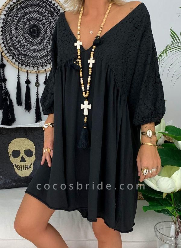 Black Plus Size Solid V-Neckline Casual Above Knee A-line Dress Plus Dress