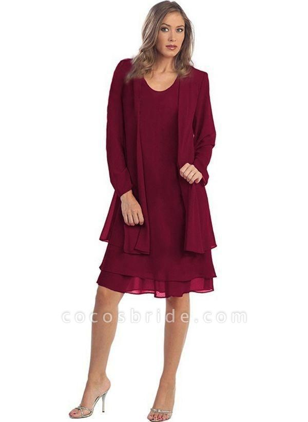 Burgundy Plus Size Solid Round Neckline Elegant Knee-Length Shift Dress Plus Dress