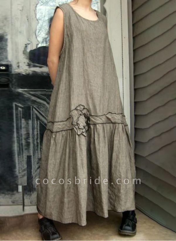 Khaki Plus Size Tunic Floral Round Neckline Casual Maxi Plus Dress