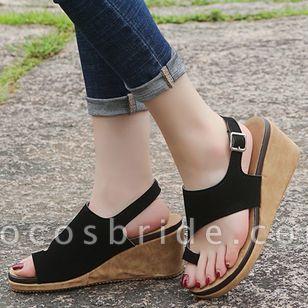 Women's Buckle Slingbacks Toe Ring Nubuck Wedge Heel Sandals